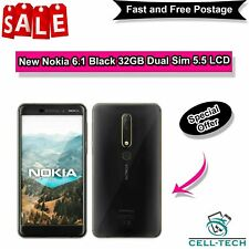 """New Nokia 6.1 Black 32GB Dual Sim 5.5"""" LCD 3GB Ram Android Sim-Free Smartphone"""