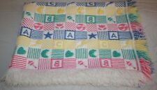 ABC BLOCK Woven Jacquard Baby Blanket HEART RATTLE Fringe PINK YELLOW BLUE GREEN