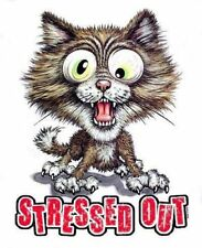 STRESSED OUT CAT  T-SHIRT IN COLORS 727