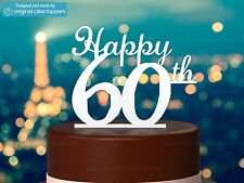 """""""Happy 60th"""" - White - 60th Birthday Cake Topper - Made by OriginalCakeToppers"""