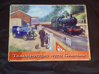 Picture Plaque Steam Train Metal Sign Trainspotting With Grandad -Railway Prop