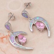 ***UK SELLER**Silver/Rhodium Plated PINK FIRE OPAL/ TOPAZ Earrings 28x42mm