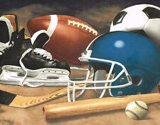 WORLD OF SPORTS FOOTBALL BASEBALL MOUSE PAD  IMAGE FABRIC TOP RUBBER BACKED