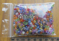 400 4mm very small round faceted transparent acrylic beads spacers colour mix