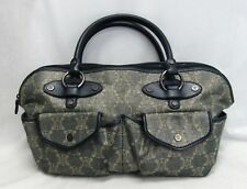 RARE Celine Vintage Denim Satchel Hand Bag Monogram Logo Shimmery Canvas Fabric