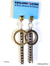 "HARAJUKU LOVERS Gold Tone on Stud Dangle Chains & Loops Earrings 3½""   NEW   $45"