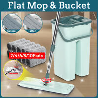 Self Cleaning Drying Wringing Mop & Bucket Flat Floor Free Hand Wash Microfiber