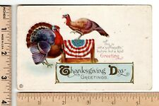 """1916 THANKSGIVING DAY GREETINGS Turkeys """"Not Suffragette"""" Suffrage Post Card"""