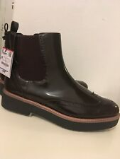Zara Burgundy Flat Ankle Boots With Elastic Side Tabs Size 38,39,40