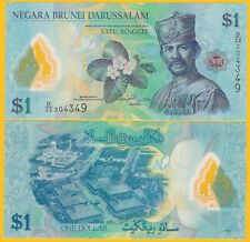 Brunei 1 Ringgit p-35b 2013 UNC Polymer Banknote