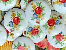 Vintage Limoges Cabochons, 18mm Round, Roses Glass Cabochons, Flowers NOS #875C
