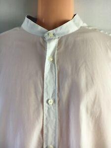 Mens shirt long sleeve XL white button up mock collar 100% cotton Massimo Dutti^