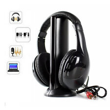 5 IN 1 WIRELESS CORDLESS RF HEADPHONES HEADSET WITH MIC FOR PC TV RADIO SKYPE