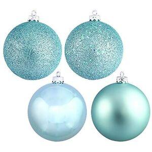 Vickerman 4-Finish Ornament Set, Includes 60 Per Box, 2.4-Inch, Baby Blue