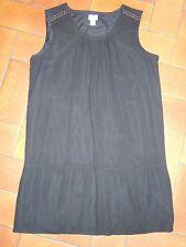 Robe/Tunique CYRILLUS taille 40 noir 100% SOIE doublée sans manches NEUF