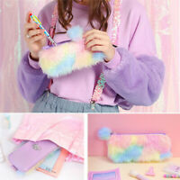 Unicorn Pencil Case Kawaii School Supplies Cosmetic Pouch Stationery Zip Bag ;