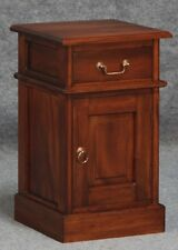 Timber Bedside Table with drawer & cupboard, Mahogany Timber Bedside.