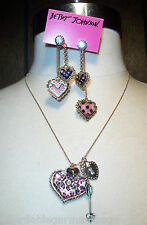 Betsey Johnson Pink Leopard Heart Crystal Arrow Valentine's Necklace Earrings