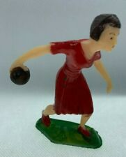 Vintage 1950's Plastic Woman Bowling Figurine. Cake Topper