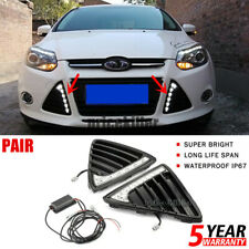 Pair For Ford Focus 2011-2014 Front Bumper Grille LED DRL Daytime Running Lights