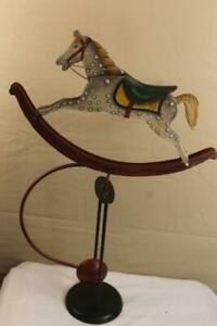 Folk Art Horse Sculpture Balancing Kinetic Pendulum Hand Painted Metal