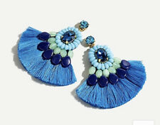 Sold Out! New$65 Peacock Feather Blue J Crew Resin Beaded Fringe Earrings!
