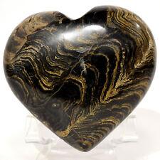 7.4cm Stromatolite Puffy Cuore Nera Naturale Marrone Alghe Fossile Minerale -