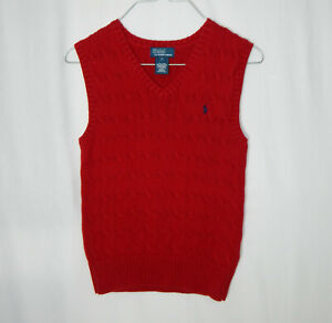 Ralph Lauren Polo Red Cable Knit Sweater Vest Size Youth 7 Kids Boys Clothing