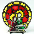 Vintage Cast Iron Stained Glass Candle Holder Holy Family Taiwan P3