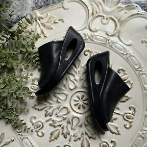 Fly London Hima Cutout Wedge Sandals EUR Size 37 US 6.5 - 7 Black Mules