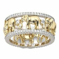 Bague Femme,Homme,Argent,OR,Cristaux Autrichiens,Éléphant,Élégante,Chic,Mode,FR