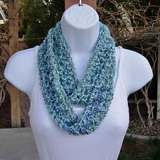 SUMMER INFINITY SCARF Small Skinny Light Blue & Gray Soft Handmade Crochet Knit