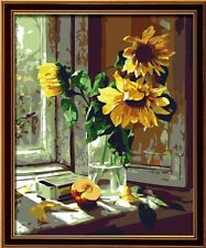 Colour Talk DIY Oil Painting Paint By Number Kit - Warm Sunflower (16x20 Inch)