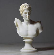 "Hermes Greek Roman God Head Bust Handmade Painted Statue Alabaster Deco Art 5.9"""