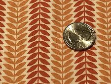 Fabric Autumn Leaves Orange Gold Stripes on Cream Cotton 1 Yard S