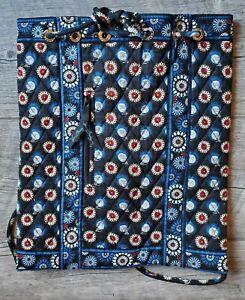 Vera Bradley Night Owl Drawstring Backpack Tote Diaper Bag Black Blue & Red