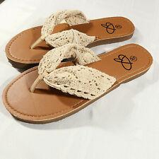 55fba3cdfe44 Bobbie Brooks Thong Sandals Crochet Beige Boho Bohemian Lace Flip Flops  Womens