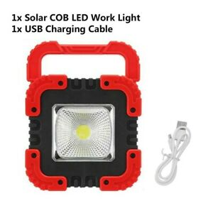 100w Solar LED Work Light Flood Rechargeable Outdoor Camping Torch USB Lamp New