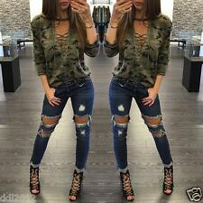 Women Fashion Long Sleeve Shirt Slim Casual Blouse Camouflage Print Tops T Shirt