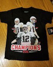 NWT NFL 2016 WORLD CHAMPIONS 100% COTTON T-SHIRT BOYS MEDIUM Tee Patriots
