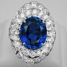 DELUXE!  BLUE SAPPHIRE MAIN STONE 7.25 CT. SAPP STERLING 925 SILVER RING SZ 6.75