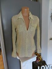 "MKM Designs sheer long sleeve shirt.17 1/2"" armpit to armpit  beige."