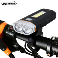 Rechargeable Bicycle Bike MTB LED T6+COB Headlight Lamp Light Taillight 2x 18650