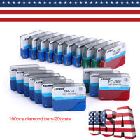 20 boxes Dental Diamond Burs for High Speed Handpiece Medium FG 1.6MM 100pcs