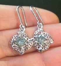 3.50CTW  VS1 Fancy  Greenish Blue Moissanite Earrings .925 Sterling Silver
