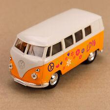 1963 T1 Volkswagen VW Kombi Peace Van Microbus 11.5cm DieCast Model Car Yellow