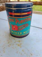 Vintage Mr Peanut Mixed Nuts Tin Can Vintage Antique Americana Blue