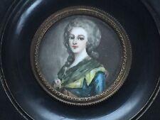 ANTIQUE FRENCH Miniature PORTRAIT Anne Marie Painting Porcelain Artist Signed