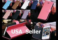 (2-Color Combo) iPhone 5 Wallet Size Leather Flip Stand Case Cover + Magnet Clip