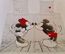 """Bed Linen Set, partnerbettwäsche """" Mickey + Minnie """" 100% Cotton"""